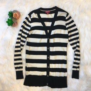 Merona Striped Button Up Tunic Cardigan Sweater